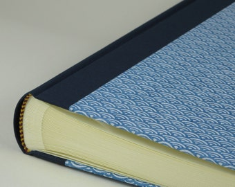 "Photo Album 24x30cm (10x12"") - Cover CHIYOGAMI Design ""Blue Waves"""