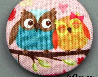 Fabric - OWL - 40mm (BP ANF 40 30) covered button