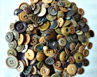 Buttons Beige, Brown Bulk Lot of Buttons Over 200 Vintage 1960's