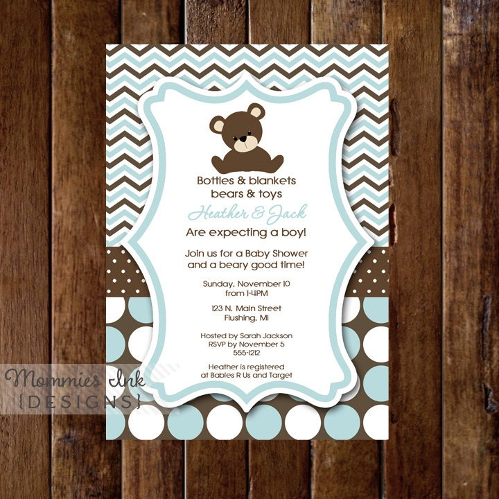 Chevron polka dot teddy bear baby shower invitation zoom filmwisefo Choice Image