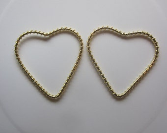 Wire Wrapped Heart Gold Finished Steel Jewelry Component 50mm 2 Components