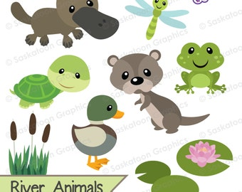 Cute River Woodland Animals Clipart - Instant Download File - Digital Graphics - Crafts, Web Design - Commercial & Personal Use - #A020
