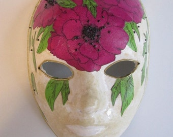 Paper Mache Mask with Pink Poppies Venetian Style Mardi Gras