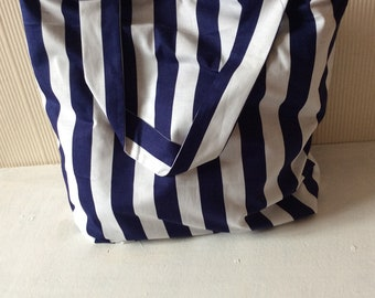 Large linen tote bag Navy Blue and white