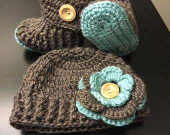 Crochet Baby Hat and Booties - Brown and Pink/Turquoise