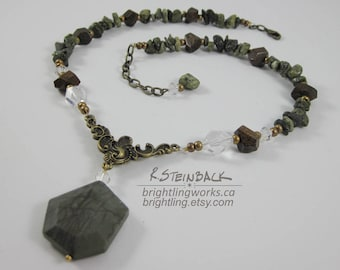 Unearthed;  Rich Natural Stone and Metallic Tone Necklace with Crystal, Picasso Jasper, Bronzite & Serpentinite.  Adjustable length.