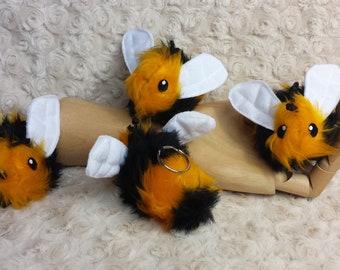 Plush Bumble Bee key ring, keychain, bag charm, gift, cute plushie.