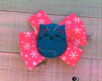 Kitty Bow, Toddler Bow, Pigtail Bow, 3 Inch Bow, Boutique, Hair Accessory, Girls Hairbow, Felt Hair clip, Boutique Hair bow