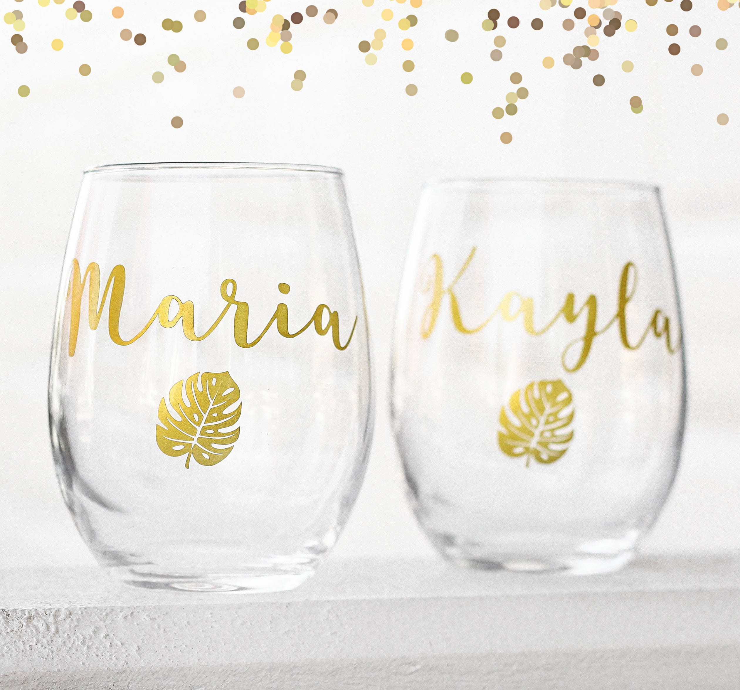 Custom wine glasses personalized cups bridal shower gift