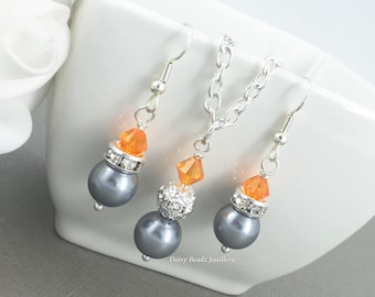 Bridesmaid Gift Gray Necklace Orange Necklace Pearl Jewelry Orange and Grey Wedding Jewelry on a Budget Bridesmaid Jewelry Flower Girl Gift
