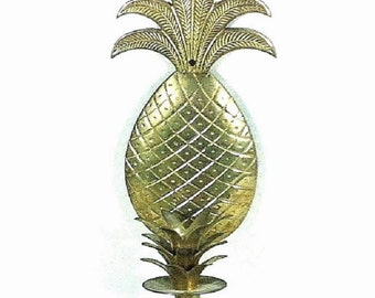 "Brass Wall Sconce Candlestick Holder PIneapple 12"" Wall Decor"