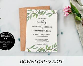 Wedding invitation greenery wedding invitation template greenery invitation rustic wedding printable invitation printable wedding