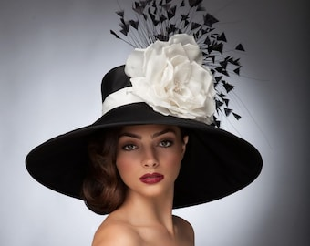 Black and WhiteKentucky derby hat,Couture hat, Derby hat, Lampshade hat, Del Mar hats.