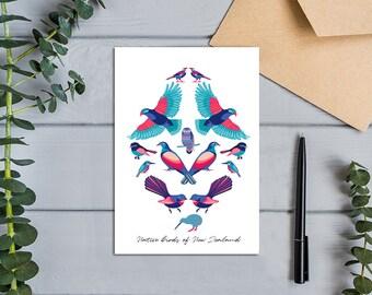Native Birds of Aotearoa, New Zealand. Modern, Colourful Design Greeting Card