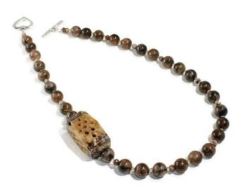 Necklace Agate Necklace Beaded Brown Necklace OOAK Design Necklace Handmade Jewellery