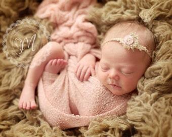 Newborn Organic Tieback, flower headband, baby girl accessories, photography prop, pink, rosette, baby hair accessories