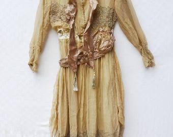 stunning peachy victorian silk dress