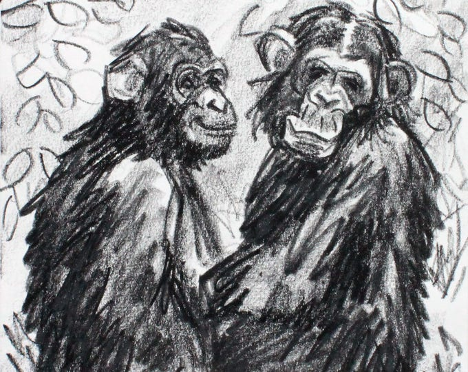 Couple of Smiling Monkies, 9x12 inches crayon on heavy rag paper by KennEy Mencher