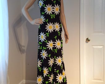 """Handmade Vintage V-Neck , Fitted Black Maxi Dress with Daisy print, five(5)"""" ruffle at hemline body con size x small to small"""