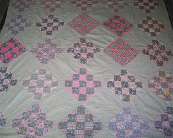 Antique Vintage 1930s Nine Patch Quilt Top 1930-1940s Feedsack Prints-Hand Stitched -68 by 75 inches