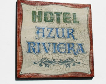 European hotel sign Vintage style