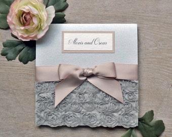 Silver Pocket Invitation, Flower invitation, floral wedding, ribbon invitation, lace wedding, lace invitation, unique invitation, elegant