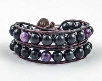 Men's Obsidian and Lepidolite Wrap Bracelet | Leather Wrap | Wrap Bracelet | Obsidian Bracelet | Lepidolite Bracelet | Double Wrap Bracelet