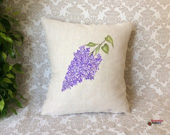Pillow Cover 18x18/Hand-painted/Nature/Indoor/Outdoor/Pillows/Seasonal Decorations/Spring Decorations/ Patio/ Garden/Spring/Decorative/lilac