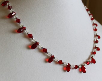 Red Teardrop Crystal with Frosted White and Silver Necklace