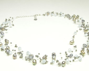 Pearl Necklace-  Multi strand Silver/Grey Necklace with Crystal - 5 mm Silver Gery Multi strand Freshwater Pearl Necklace - Wedding Jewelry