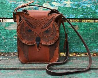 Brown leather bag, Owl image, ethnic purse, handmade, LARP, fantasy, folk
