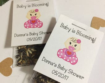 Wildflower Seed Favors, 25 Personalized Custom Baby Shower Party Favors White