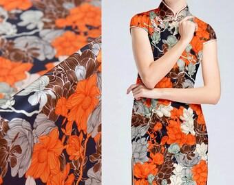 Big Floral Print Orange Stretch Silk Satin Fabric Width 42 inch