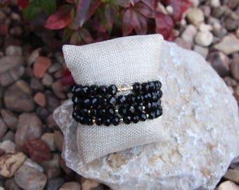 Black crystal beaded bracelets