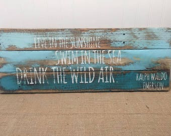 Rustic Pallet Wall Art - Emerson Quote Sign - Drink the Wild Air Quote - Beach House Decor - Live in the Sunshine Swim in the Sea 24x10