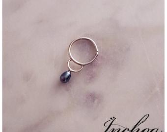 Dark Blue Green Pearl Septum, Nose Ring, Teal Nose Ring, Septum Piercing, Tragus, Elegant, Pearl Septum, Tribal Septum, Nose Hoop, Minimal
