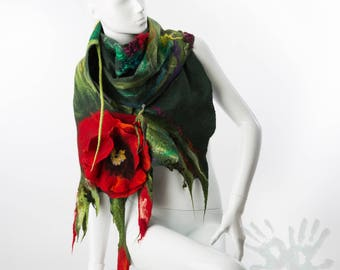Green Shawl With Poppy Flowers / Nuno Felt / Red  Flowers  /  Handmade Felted Shawl / Merino Wool / Wrap / Made to order.
