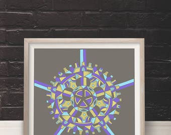 "Artcrank Poster, Bike Poster, Limited Edition Screen Print, Modern Tribal Design, Urban Art - ""Crank"""