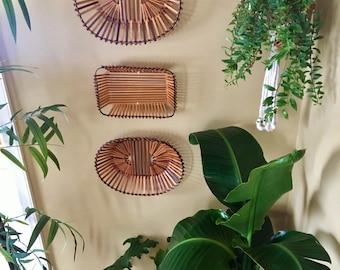 Vintage Bohemian Geometric Bamboo Stick Basket Wall Hanging Set / Vertical Wall Basket Set of Three - Vintage Bohemian Wall Decor