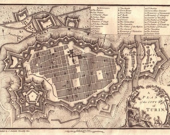 Antique map of Turin, 1800, old map of Torino, fine art print