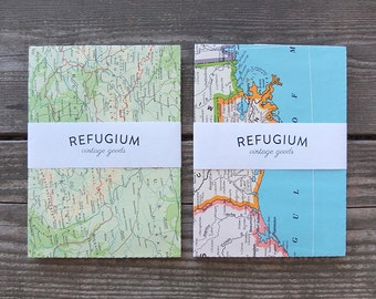 Set of 5 - Recycled Map Envelopes