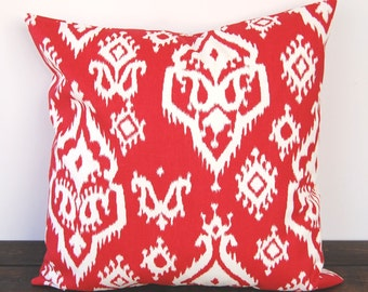 Pillow Cover Decorative Pillow Throw Pillow Cushion red ivory Ikat Raji