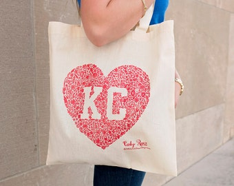 Kansas City Floral Heart Tote - Red or Blue