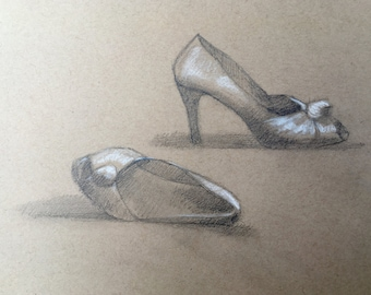"Still-Life Drawing - ""Caroline's Shoes"" - original still-life drawing, graphite and chalk on toned paper, 9x12"