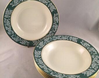 Homer Laughlin Teal Green Semi Vitreous Salad/Cereal Bowls, Set of 5