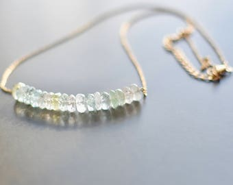 Natural Beryl Necklace with Morganite, Aquamarine, Heliodor, Yellow Beryl, and 14k Gold Filled Chain