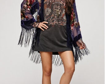 SALE 20% OFF // Navy Floral Velvet Burnout Gypsy Fringe Beaded Kimono Jacket
