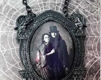 Mina and Vlad Dracula in gargoyle setting necklace  Halloween