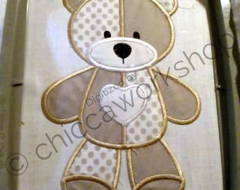 Teddy Bear Two Colored Machine Embroidery Applique - DIGITAL DAWNLOAD