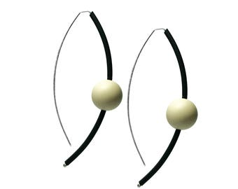 black and cream long statement earrings,  contemporary dangle earrings, sterling silver and rubber jewellery designed by frank ideas